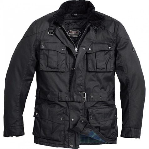 Spirit Motors I Wax Textil Jacket Long Black (UK Classic)